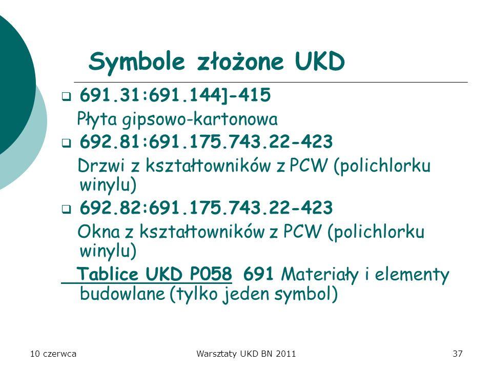 Symbole złożone UKD 691.31:691.144]-415 Płyta gipsowo-kartonowa